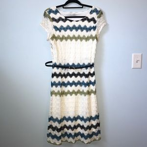 Dress Barn Size 12 Crochet Belted Dress EUC